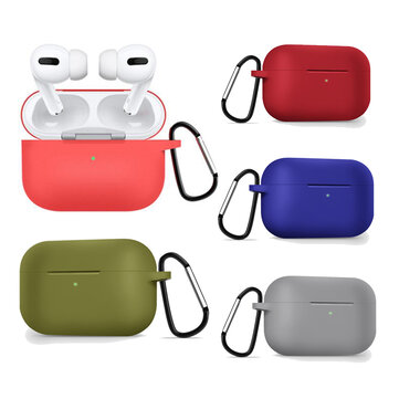 Bakeey Liquid Silicone Shockproof Anti-drop Earphone Storage Case med nøkkelring for Apple Airpods 3 Airpods Pro 2019
