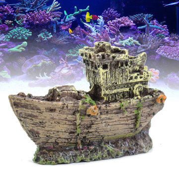 Buy Aquarium Ornament Wreck Fish Tank Cave Sailing Boat Sunk Ship Destroyer Decorations with Litecoins with Free Shipping on Gipsybee.com