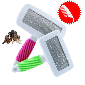 Pet Puppy Dog Cat Hair Shedding Grooming Pet Hair Trimmer Fur Comb Brush Slicker Tool - Pink S