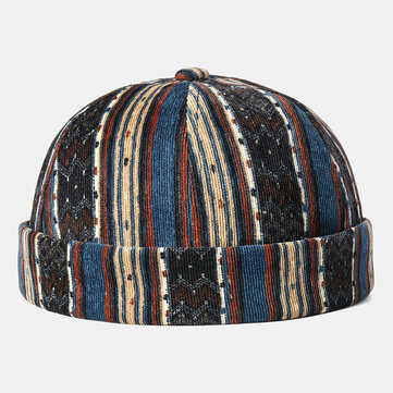 Corduroy Brimless Skull Cap Stripe Multicolor Customized Hats