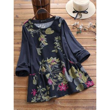 Blusa de manga larga con estampado de hojas florales vendimia Blusa