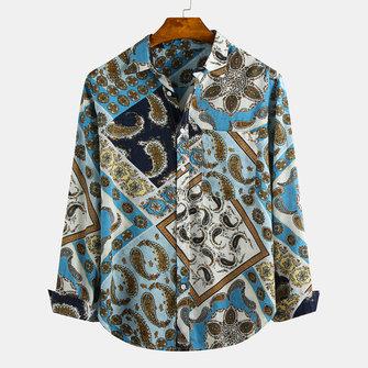 Män i etnisk stil tryckt Lapel Chest Pocket Långärmade T-shirts