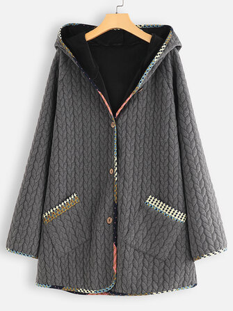 Women Casual Button Patch Hooded Warm Coats with Pockets