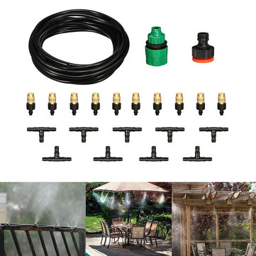 22Pcs/Set 5M Hose Outdoor Cool Patio Misting System Fan Cooler Water Mist Automatic Sprayer Mist Coolant Drip DIY Garden Irrigation System