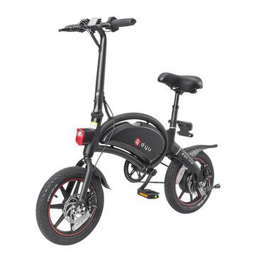 [EU Direct] DYU D3+ 10Ah 240W 36V Folding Moped Electric Bike 14in 25km_h Top Speed 70km Mileage Range Intelligent Double Brake System Max Load 120kg