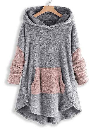 Women Contrast Color Splice Irregular Hem Hooded Fleece Sweatshirt Coats