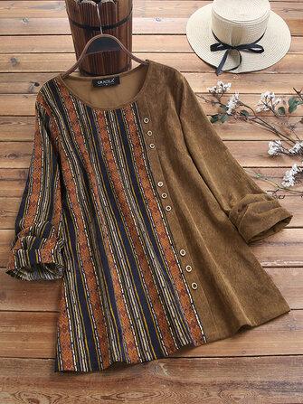 Blusa de veludo com estampa de retalhos e manga comprida Blusa Vintage