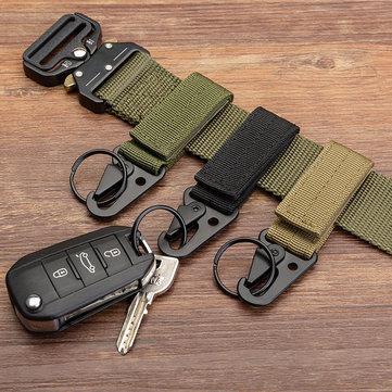 Mens Womens Tactical Gear Clip Band Gear Keeper Pouch Key Chain Nylon Belt Hanger Keychain