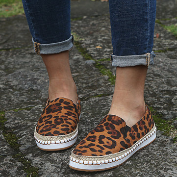 Large Size Women Stitching Leopard Slip On Loafers Casual Lazy Flats