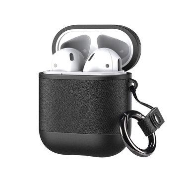 DUX DUCIS Luksus PU-skinn støtsikker øretelefon lagringsveske med antitapt krok for Airpods 1 / AirPods 2