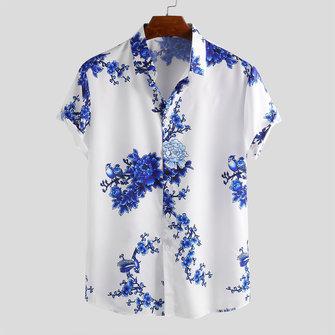 Camicie da uomo con stampa floreale in porcellana