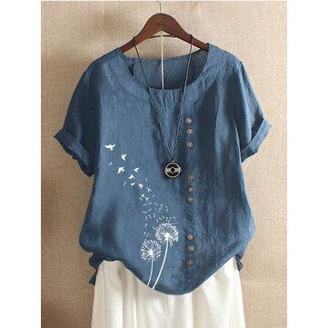 Camisetas de manga corta con estampado de pájaros de flores casuales para mujer