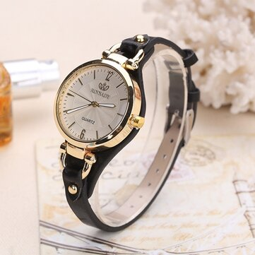 Deffrun Casual Style Colorful Gold Case Ladies Wrist Watch PU Leather Quartz Watches