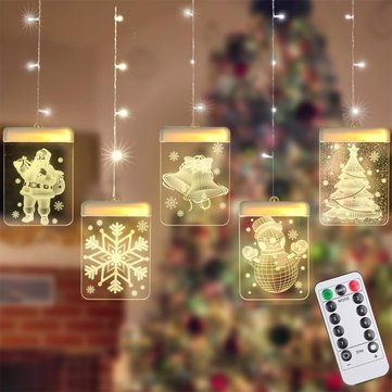 USB Remote Control 8 Modes LED String Light 3D Luminous Letters Fairy Christmas Garlands Curtain Hanging Lamp