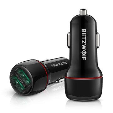 BlitzWolf BW-SD5 18W Dual-Port USB 3.0 Mini Car Charger for iPhone 11 Pro XS Xiaomi Mi8 Pocophone F1