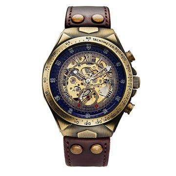 SHENHUA Brand Genuine Bronze Belt Waterproof Skeleton Men Luxury Mechanical Watch Automatic Wrist Watches