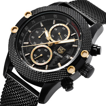 BENYAR 5109M Fashion Men Perhiasan Chronograph 3ATM Waterproof Stainless Steel Strap Quartz Perhiasan