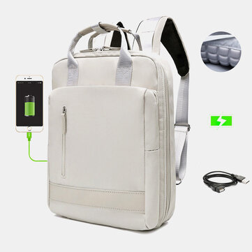 Women Large Capacity Fashion USB Pure Color Multifunctional Backpack