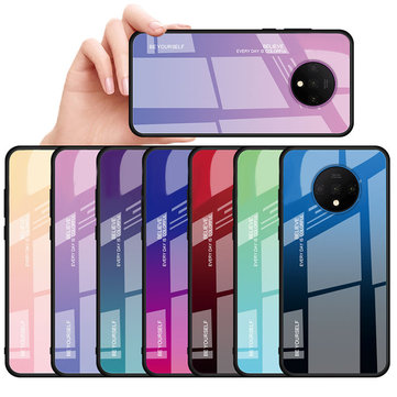 Bakeey OnePlus 7T Case Gradient Color Anti-scratch Shockproof Tempered Glass Protective Case