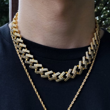 Buy Geometric Square Cuban Chain Necklace With Fancy Diamonds with Litecoins with Free Shipping on Gipsybee.com