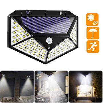 100 LED Solar Powered PIR Movimento Sensor Lâmpada de rua luz de parede ao ar livre