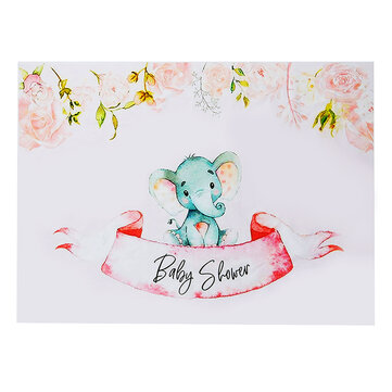 3x5FT 5x7FT Vinyl Baby Shower Elephant Pink Rose Photography Backdrop Background Studio Prop