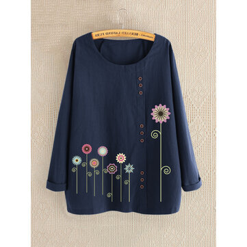 Women Casual Print Floral Crew Neck Long Sleeve Button Shirts