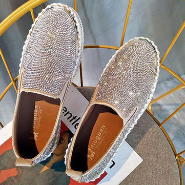 Women Plus Size Rhinestone Decoration Breathable Slip On Comfy Casual Flats