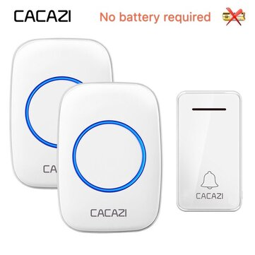 CACAZI FA10-2 Self-powered Wireless Music Doorbell Waterproof No battery Calling Doorbell Chime 1 Button 2 Receiver