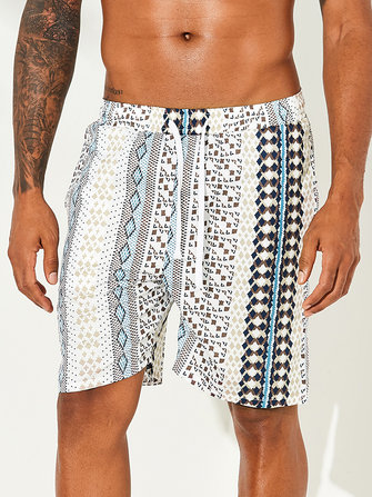 How can I buy Men Ethnic Pattern Print Drawstring Beach Relaxed Board Shorts with Bitcoin