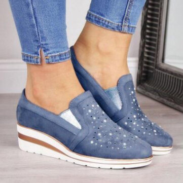 Large Size Women Casual Pointed Toe Hollow Slip On Wedges Loafers