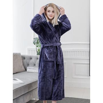 Winter Longline Hooded Long Sleeve Flannel Bath Robe Nightgown