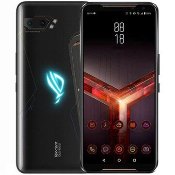 ASUS ROG Phone 2 Global Rom 6.59 Inch FHD+ 6000mAh Android 9.0 NFC 48MP+13MP Rear Camera 8GB RAM 128GB ROM UFS 3.0 Snapdragon 855 Plus Octa Core 2.96GHz 4G Gaming Smartphone - Black Global Rom