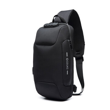 OZUKO Chest Bag USB External Charging Anti-theft Crossbody Bag Waterproof Shoulder Bag for Camping Travel
