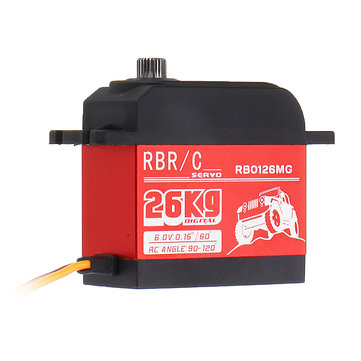 RBR/C RB0126MG 26KG 90° 120° Large Torque Digital Metal Gear Waterproof Servo For 1/8/10 Crawler RC Car Boat Vehicle Robot Models