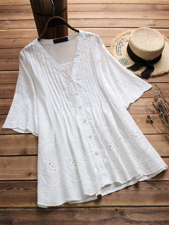 Vintage Women Embroidered Hollow Solid Color Blouse
