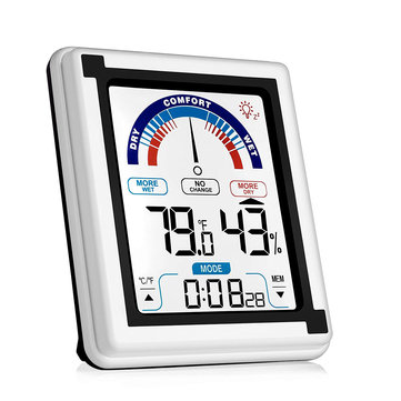 Indoor Outdoor Digital Thermometer Humidity Monitor with Large Touchscreen and Backlight