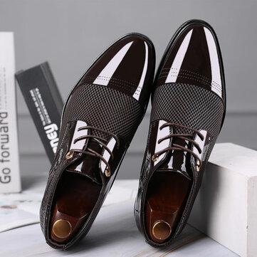 Men Stylish Hollow Out Cap Toe Lace Up Business Formal Dress Shoes
