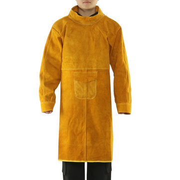 1.05m Cowhide Work Clothes Welding Protective Clothing Heat and Fire Resistant Safety Clothing for Welder Welding Long Coat Safety Gear