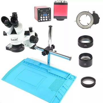 Camera Upgraded to 20MP Industry 3.5X-90X Simul-focal Trinocular Stereo Microscope VGA HD Video Camera For Phone PCB Soldering Repair Lab
