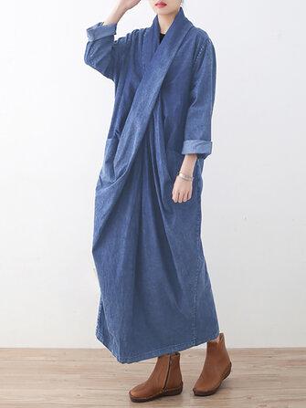 Denim Asymmetric Casual Belt Pocket Long Dress