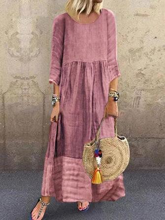 Women 3/4 Sleeve O-neck Stitching Long Sleeve Vintage Maxi Dress