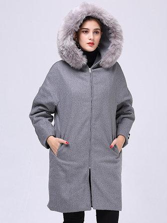 Plus Size Casual Women Faux Fur Collar Hooded Woolen Coats