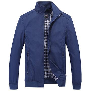 Casual Business Plus Talla XS-5XL Pure Color Zipper Spring Otoño Chaqueta para hombre