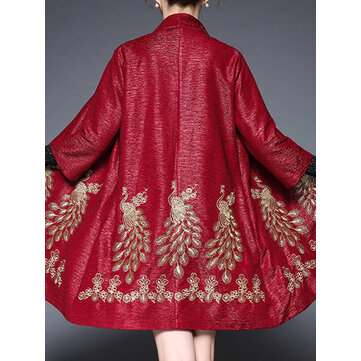 Plus Size Elegant Women Peacock Embroidery Cardigans
