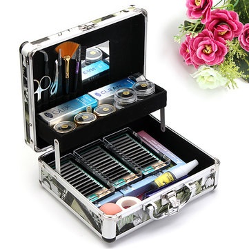 Professional False Eyelash Extension Glue Brush Kit Set Tool Box