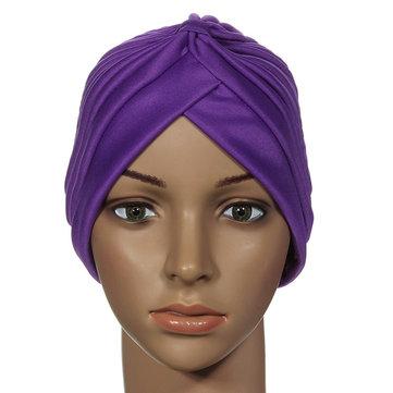 Stretchy Turban Maternity Sovhatt Chemo Bandana Hijab Pläterad Cap