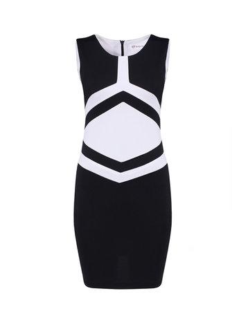 黒と白のヒットカラーパッケージヒップスリム薄いドレス