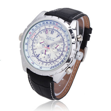 JARAGAR Automatisk Mekanisk PU Band Stor Dial Mode Watch