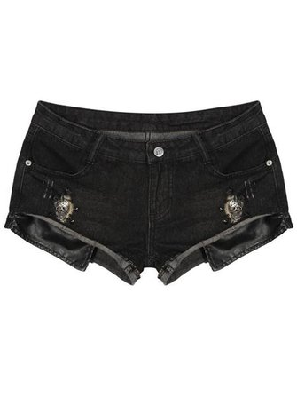 Women's Rivet Spell Leather Cowboy Shorts Black Low Waist Pants